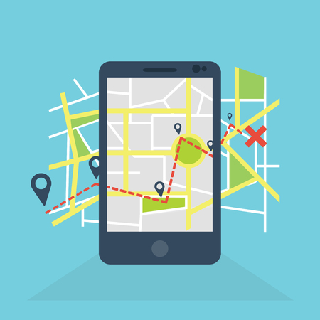 Navigation in mobile icon Vector