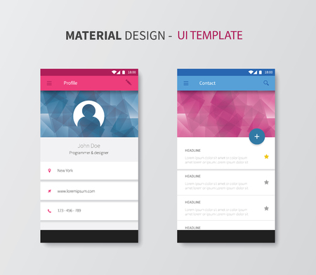 stylesheet: vector ui layout for mobile, smartphone app in new design system Illustration