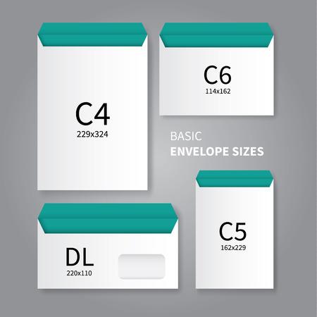 disegno vettoriale mockup di 4 tipi di buste di cancelleria Vettoriali