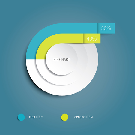 pie chart icon: bright vector pie chart for infographic design