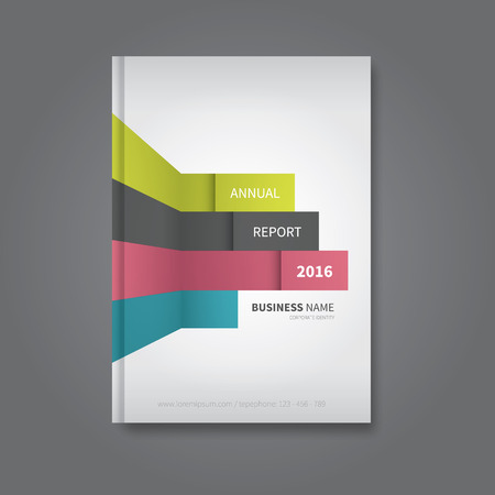 business annual report file with wall lines graphic