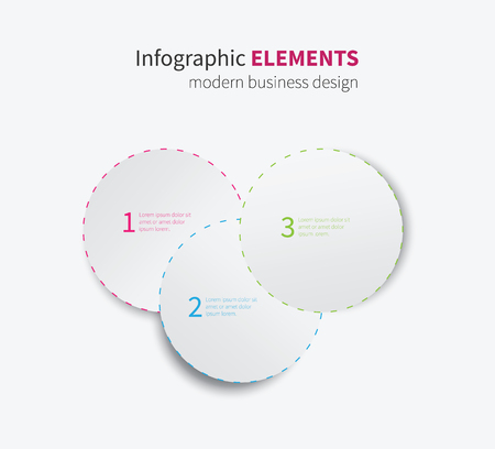 dashed: modern paper infographics circles with dashed border for options Illustration