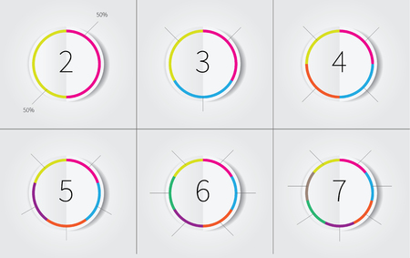 number icons: vector infographics circles with many options, 2,3,4,5,6,7