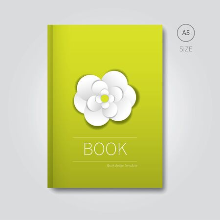 a5: simple green white template of brochure background