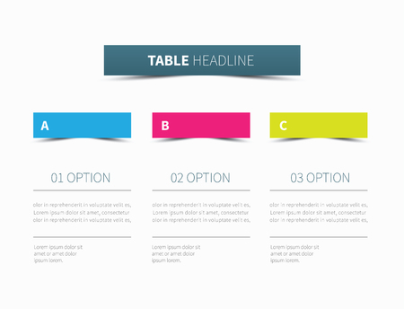competitor: vector table presentation divided into 3 columns Illustration