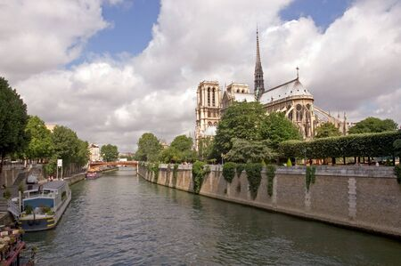 notre dame: The Notre Dame Cathedral - Paris Stock Photo