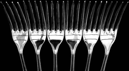 silver plated: Six silver plated dinner forks.