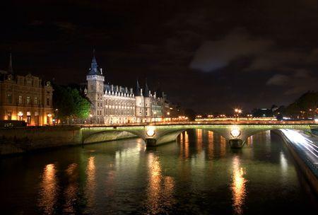 The Seine at Night Stock Photo
