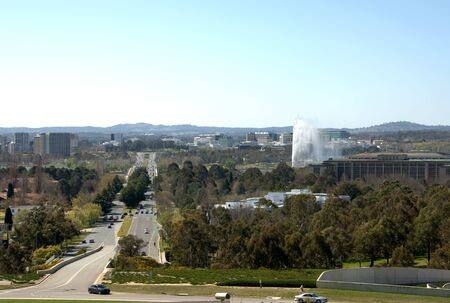 canberra: A view of Canberra, captured from the rooftop of Parliament House
