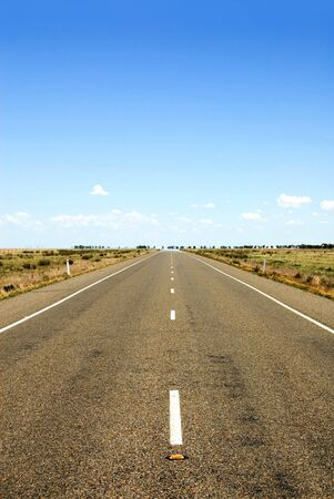 road shoulder: A lonely country road in South-West New South Wales, Australia