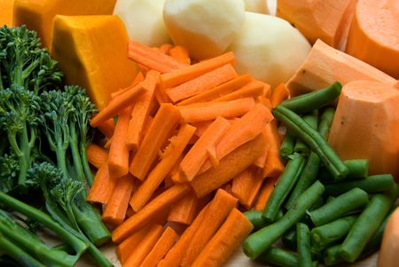 tuberous: A selection of fresh vegetables, prepared ready for cooking Stock Photo