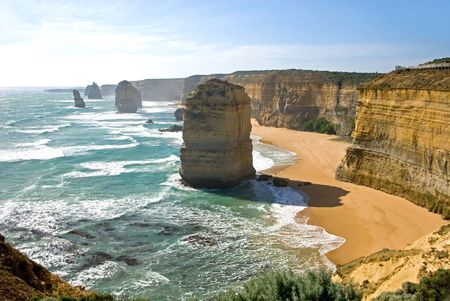 A number of the Twelve Apostles - a series of limestone stacks on the shoreline in Southern Victoria, is one of Australias premier tourist attractions