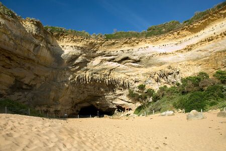 A cave in the rock wall of Loch Ard Gorge, Port Campbell National Park, Victoria, Australia photo