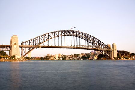 place of interest: The Sydney Harbour Bridge at dawn - long exposure image. Stock Photo