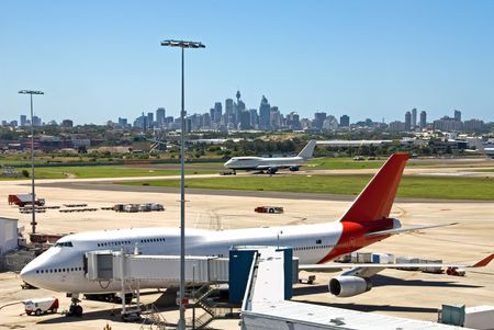 A scene from Kingsford Smith Airport, Sydney, Australia Stock Photo