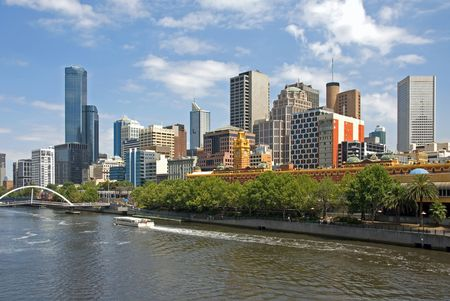 melbourne australia: Melbourne, with the Yarra River in the foreground. Stock Photo