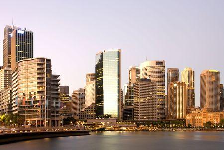 Circular Quay, Sydney Harbour, Australia, at dawn.