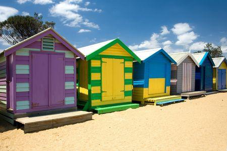 Beach Houses on Brighton Beach, Melbourne, Victoria, Australia Stock Photo