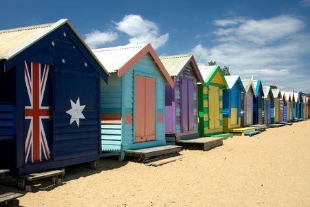strand australie: Beach Huizen op Brighton Beach, Melbourne, Victoria, Australië