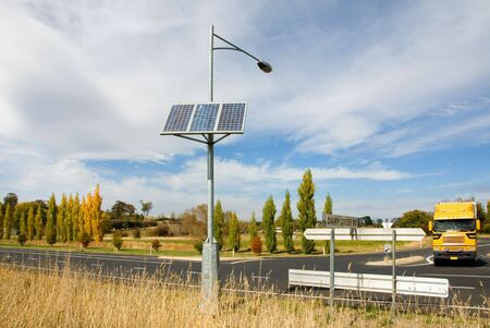 solarpower: A solar-powered street light.