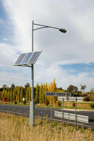 A solar-powered street light.