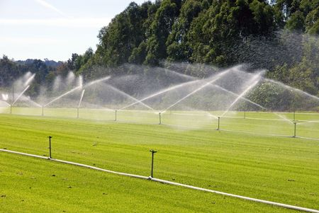 sprinklers: An irrigation system on a turf farm, near Windsor, New South Wales, Australia