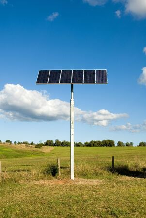 A Solar panel, beside a busy motorway, providing power for the emergency phone and nearby security camera Stock Photo - 3008428