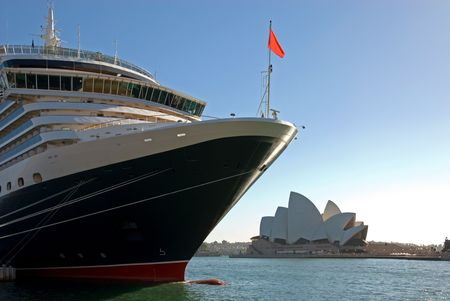 the quay: A luxury liner berthed at Circular Quay, Sydney, Australia