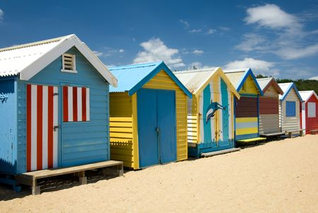 huts: Beach Houses on Brighton Beach, Melbourne, Victoria, Australia Stock Photo