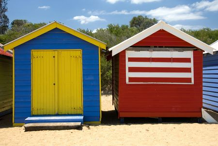 Beach Houses on Brighton Beach, Melbourne, Victoria, Australia Stock Photo - 3021061