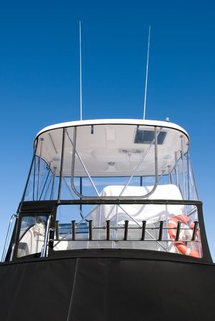 pleasure craft: The Cabin of a luxury pleasure cruiser, berthed in Nelson Bay, New South Wales, Australia