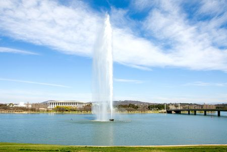 water feature: The Captain Cook Memorial Water Jet, Lake Burley Griffin, Canberra, Australia