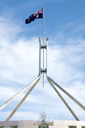 canberra: The Australian flag, atop Parliament House, Canberra, Australia Stock Photo