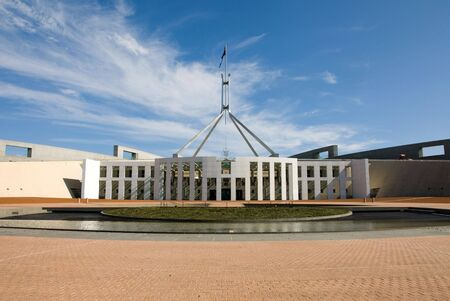 The facade of the main entrance in to Parliament House, Canberra, Australia photo