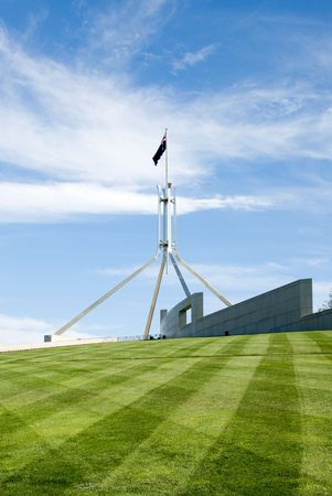 canberra: The flag pole above Parliament House, Canberra, Australia