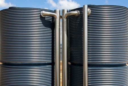water conservation: Water tanks adjacent to a new office building in Canberra, Australia.