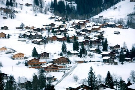 Chalets in the Swiss town of Grindelwald photo