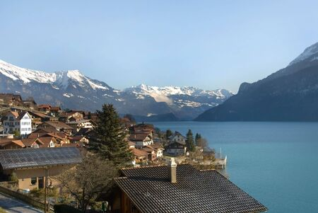 A scenic Swiss village on the shores of Lac Leman photo