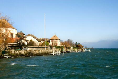 leman: Lac Leman, near Geneva, on a cold, windy, winters day