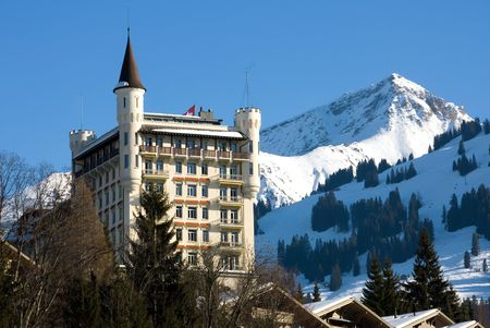 A luxury hotel in Gstaad, Switzerland Stock Photo