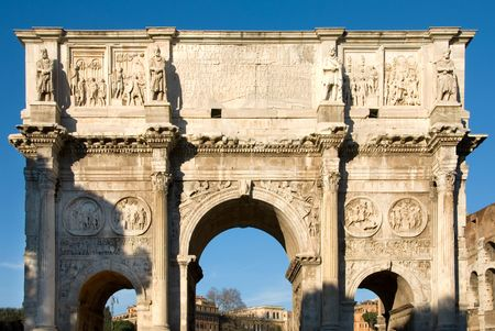 constantine: Arch of Constantine near the Colosseum, Rome, Italy Stock Photo