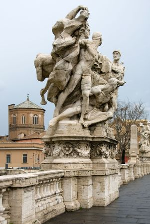 allegorical: One of the allegorical sculptures on the Ponte Vittorio Emanuele II, Rome, Italy