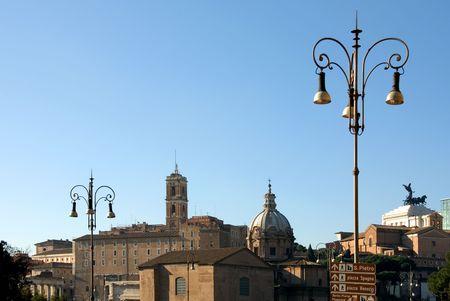 Street Lights on an inner-city street in Rome, Italy photo