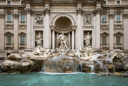 The Trevi Fountain, Rome, Italy, featuring the statue of Oceanus - the God of Water photo