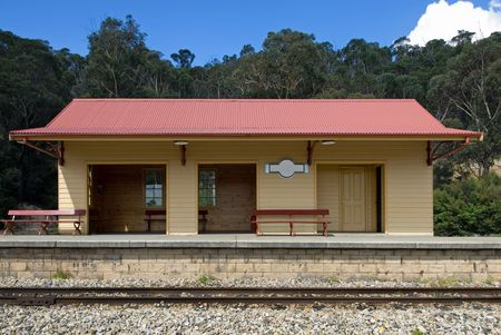 railway station: A small railway station wating room on the Zig Zag Railway, near Lithgow, New South Wales, Australia