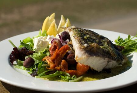 barramundi: Grilled Barramundi, served with a Greek-style Salad Stock Photo