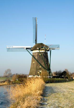 wind powered building: A typical Dutch windmill, near Den Haag, the Netherlands