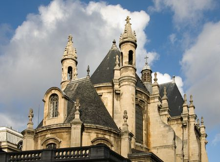 pitched roof: An old stone church, Paris, France Stock Photo