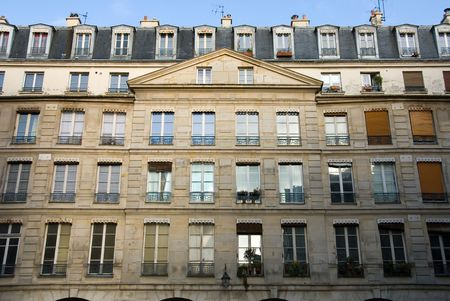 A Parisian apartment building near the River Seine, Paris, France photo