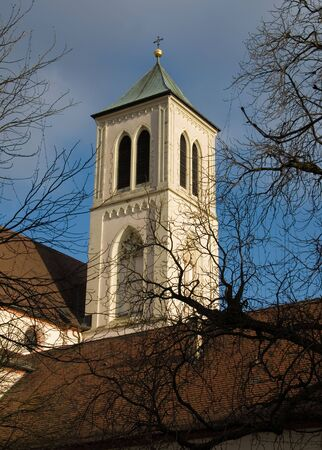 freiburg: The belltower of a church in Freiburg, Germany Stock Photo
